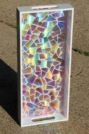 picture of recycled dvd s mosaic resin tray