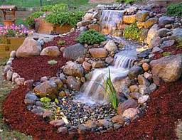 rock fountain feature beautifying the landscape