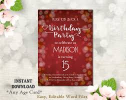 Print Out Birthday Invitations Best Printable Birthday Party Invitation Template 48th Birthday Etsy