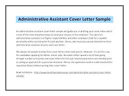 Cover Letters For Admin Assistant Letter Resume Administrative