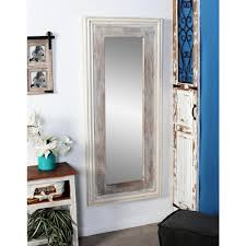 litton lane rectangular rustic white door wall mirror