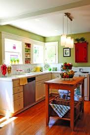 Small Kitchen Colour Small Maple Wood Island Using Rectangle Cream Marble Countertop
