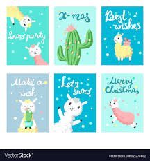 Greeting Card Samples Alpaca Christmas Greeting Cards Templates