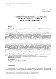 developments in theories and measures of work family relationships developments in theories and measures of work family relationships from conflict to balance pdf available