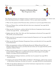 Chapter 19 Review Sheet The Progressive Era