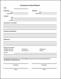 Generic Incident Report Template Template Incident Report