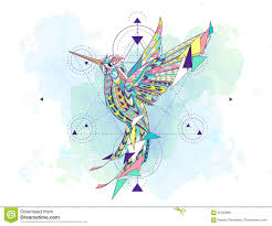 сделанный по образцу колибри с геометрией иллюстрация вектора