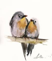 birds couple original watercolor painting two birds on a