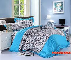 blue leopard print korean bowknot bow ruffle turquoise bedding set queen size quilt duvet cover bed in a bag sheets 100 cotton in bedding sets from home