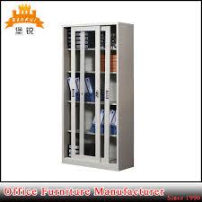 sliding glass door metal frame school laboratory storage cabinet