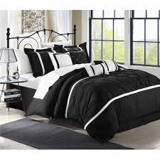 queen king bed solid black white