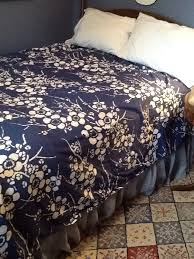 kiyoko pine cone hill duvet full queen navy bluee flowers fl
