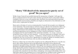henry viii dissolved the monasteries purely out of greed do you  document image preview