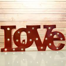 Marquee Letters Light Red 39love39 Word Led Letter Sign Night