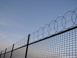 barbed wire fence prison. Fence With Barbed Wire Prison -