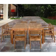 ia victoria square 9 piece teak patio dining set