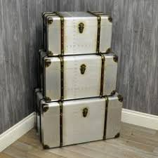 aluminium set of 3 storage chests allissias attic vintage french style bar trunk furniture