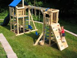 Backyard Playset Ideas With Wood Playground And Swing And Outdoor Area