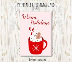 Printable Christmas Card Templates Impressive Printable Christmas Card Christmas Template Holiday Greeting Etsy