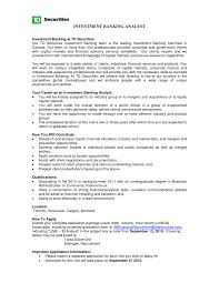 Resume Examples Best Good Career Objective For Investment Banking