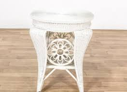 round white wicker end table loveseat vintage furniture