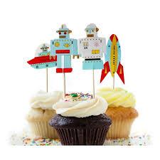 aliexpress com buy 48pcs robot rocket vessel cupcake toppers