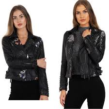 details about new women embroidered studded biker jacket soft faux leather las zip coat