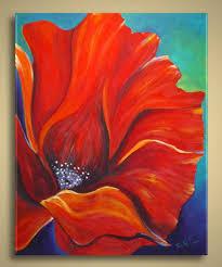 new original painting poppy flower modern contemporary abstract art via