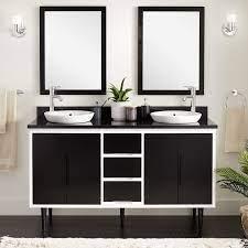 60 Bivins Double Bathroom Vanity For Semi Recessed Sink Black White Bathroom