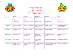 October Weekly Calendar Toddler Lesson Plans For October Preschool Weekly Calendar Planrs