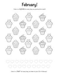 Piano Practice Chart February Valentines Day Themed Piano Practice Chart