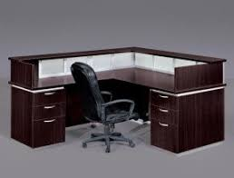 office glass desk. l shaped desk made of wood with glass surface and office