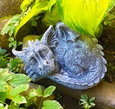 sleeping baby dragon concrete garden