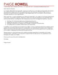 Behavior Specialist Cover Letter Example