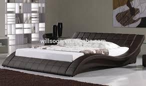 S-shape Design Button Design Double/King Size Black PU Faux Leather Bed  Frame