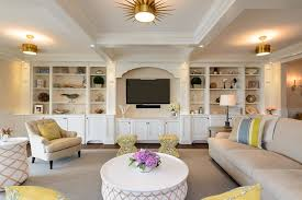 Custom Built Entertainment Center Ideas Living Room Beach Style With Beige  Wallpaper Beige Sectional Built In Cabinets