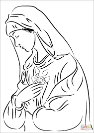 Virgin Mary with Rose coloring page | Free Printable Coloring Pages