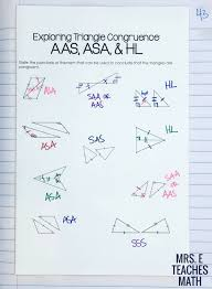 Congruent and similar triangles congruency two shapes are congruent if one of the shapes fits exactly on top of the other shape. Congruent Triangles Inb Pages Mrs E Teaches Math