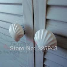 2pcs Ceramic Kitchen Cabinet Knobs White Seashell Kids Furniture ...