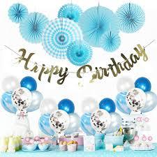 Birthday Boy Banner Design Birthday Decoration For Kid Baby Boy Girl Balloon Blue Party Supplies Sea Theme Happy Birthday Banner Flat Paper Fan 1st Birthday Decor By Mainiusi