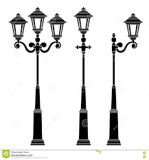 Drawing Street Light Street Lamps Collection Stock Vector Illustration Of
