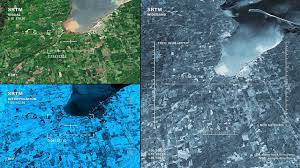 Three panel display aerial surveillance flyover of Chequamegon Bay
