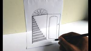 how to draw a 3d open door and stairs very easily 3d trick art illution 3d drawing on paper 03