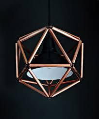 copper pipe icosahedron light fixture