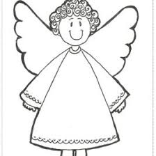simple angel coloring page kids drawing and coloring pages    simple christmas angel with a flower color page christmas coloring