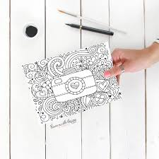 Small Picture Doodled Camera Free Printable Coloring Page Dawn Nicole Designs