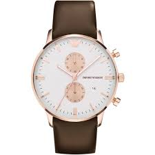 emporio armani ar0398 brown leather white dial chronograph watch emporio armani ar0398