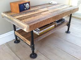 Plumbing pipe furniture: Industrial wood & steel coffee table or media  stand, reclaimed barnwood with industrial pipe legs. the things I would be  making if ...