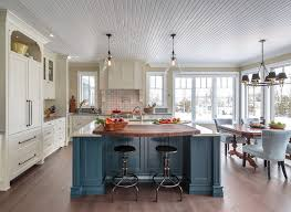 farm style kitchen island. farmhouse kitchen with blue island great design paint color #farmhousekitchen farm style