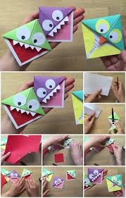 easy paper monster and owl corner bookmarks tutorial